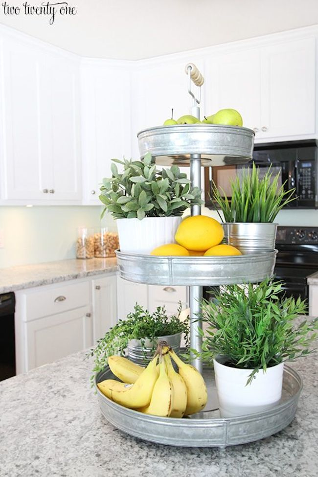 kitchen tiered tray plants fruit