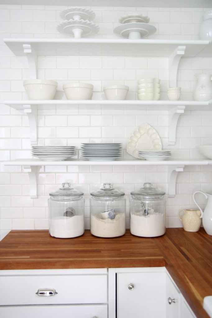kitchen white jars wood