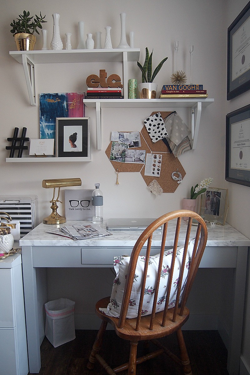 Whole desk area with cork-boards