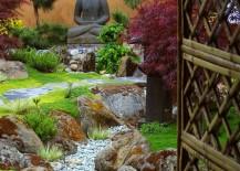 Zen-style garden with Buddha statue