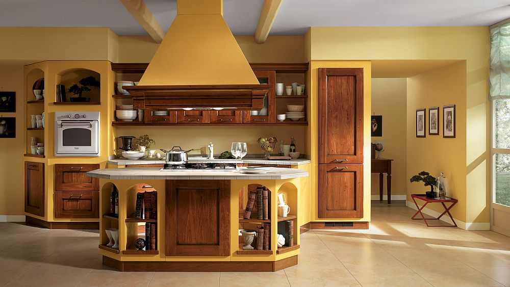 A splash of brilliant yellow for the traditional kitchen