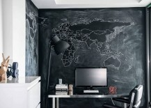 A world map backdrop for the modern home office