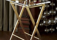 Acrylic and brass folding table