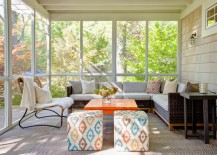Ample seating in a screened-in porch