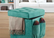 Anthology Double Duty Ottoman in Aqua Suede