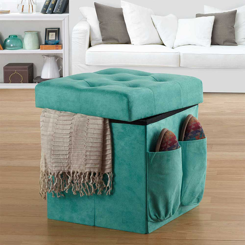 View In Gallery Anthology Double Duty Ottoman Aqua Suede