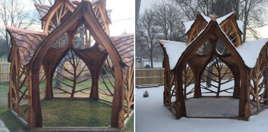 Architectural wooden gazebo