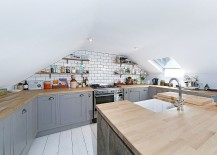 Attic kitchen in white and gray with Scandinavian style