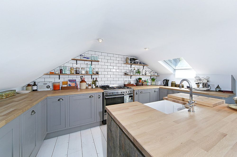 Attic kitchen in white and gray with Scandinavian style [Design: All & Nxthing]