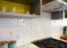 Automic tile from Heritage Tile used to fashion a quirky kitchen backsplash 217x155 25 Creative Geometric Tile Ideas That Bring Excitement to Your Home