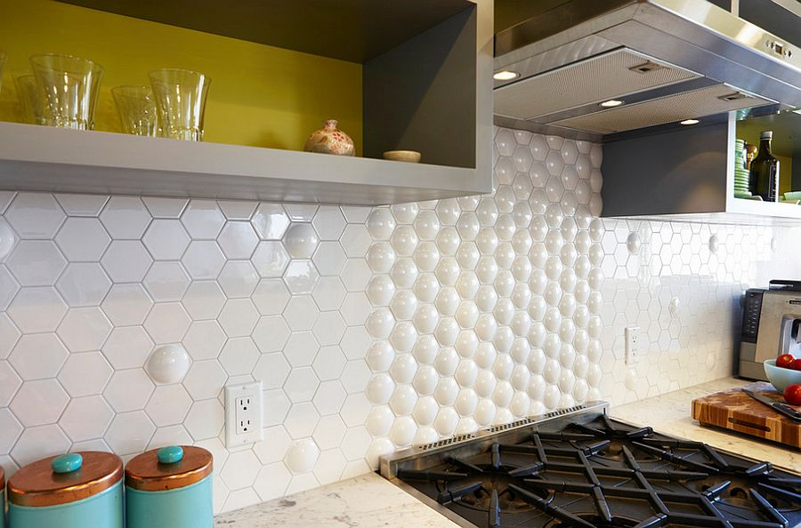 Atomic tile from Heritage Tile used to fashion a quirky kitchen backsplash [Design: Nerland Building & Restoration]