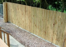 Bamboo fencing adds privacy to chain link