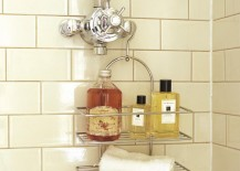 Bath products on a shower caddy