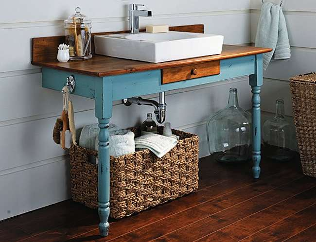 View in gallery Rustic chic with an upcycled desk  13 Crazy Creative DIY  Bathroom Vanities. Do It Yourself Vanity