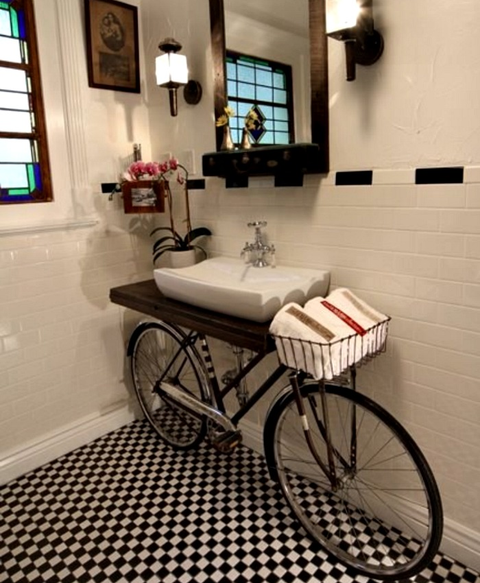 Watch out! There's a bike in the bathroom!