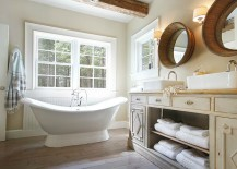 Beadboard accent feature in the traditional bathroom