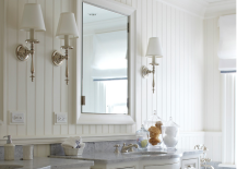 Gorgeous white beadboard backsplash in the bathroom
