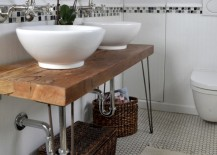 Antique hairpin legs for the creative bathroom vanity with vintage style