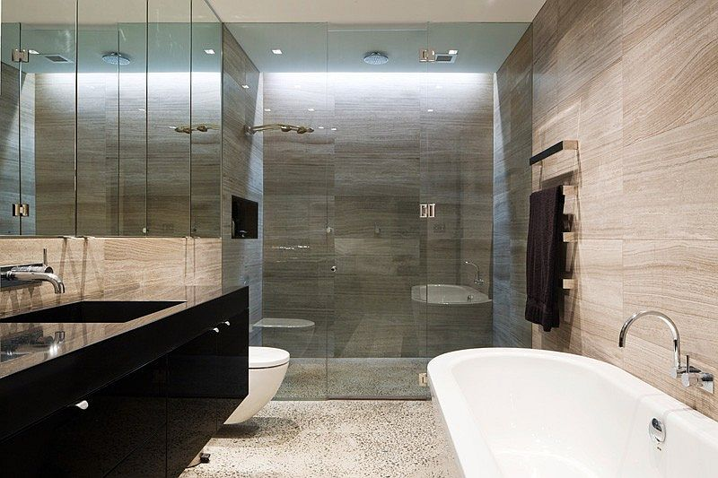 Bathroom walls bring texture and contrast to the space