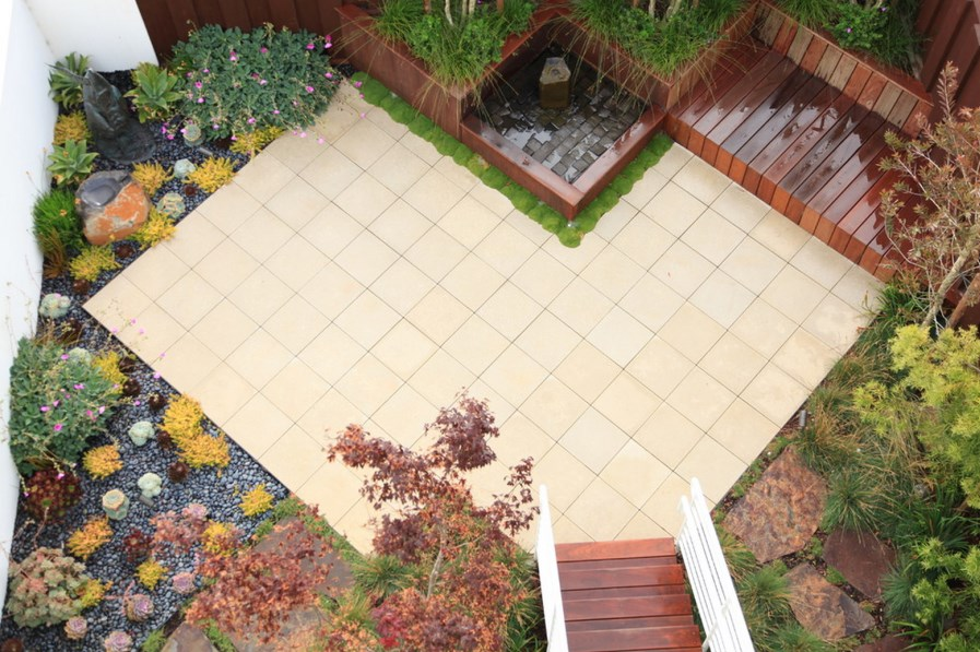 View In Gallery Beautiful Patio Created With Pre Cast Concrete Pavers