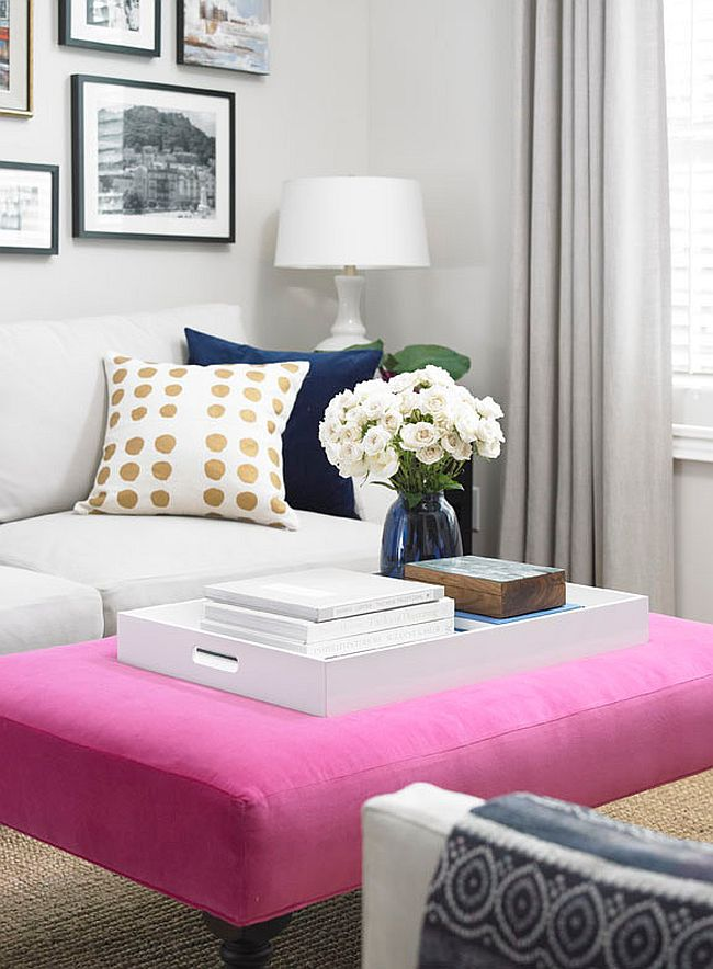 Beautiful upholstered coffee table in pink [Design: Vanessa Francis]