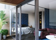 Bedroom of the penthouse designed by Tom Dixon