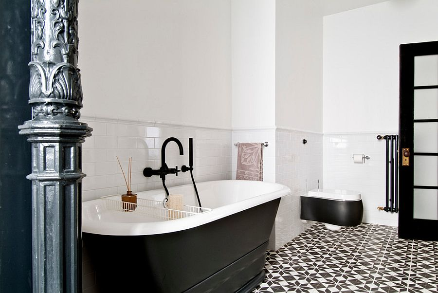 Black and white bathroom with cement tile flooring [Design: FJ Interior Design]