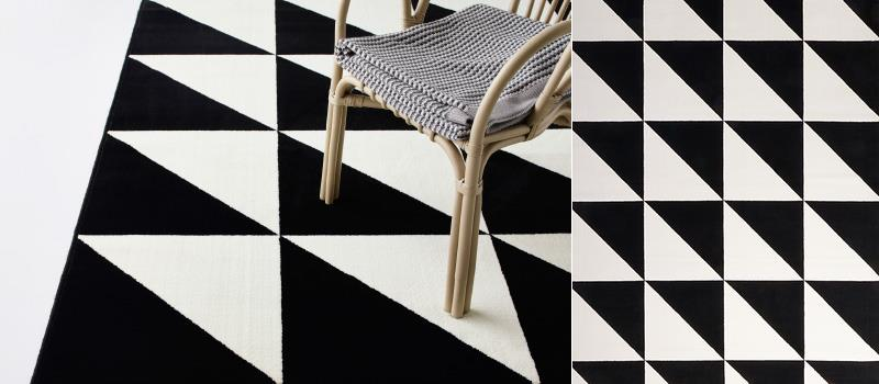 Black and white geo rug from IKEA