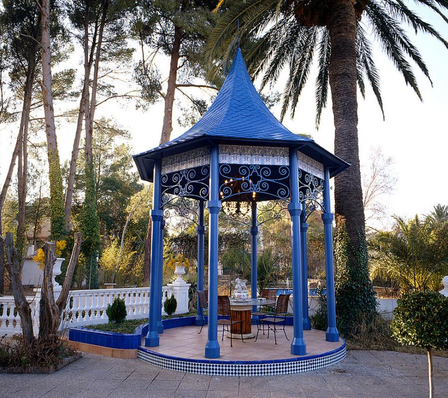 Blue gazebo at a Spanish villa