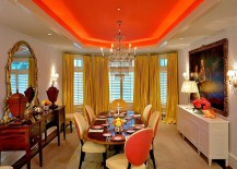 Bold orange hue for the dining room ceiling
