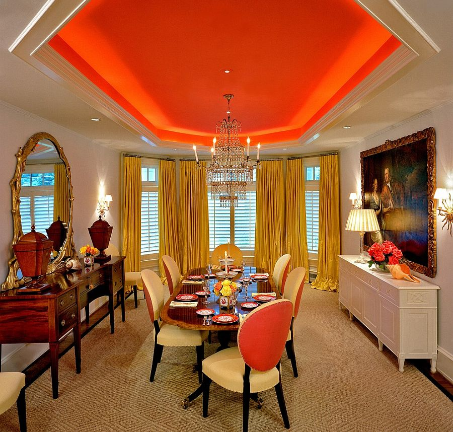 Bold orange hue for the dining room ceiling [Design: Brown Davis Interiors]