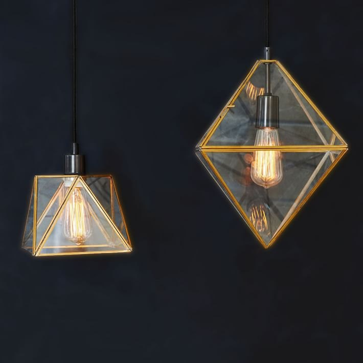 Brass and glass pendants from West Elm