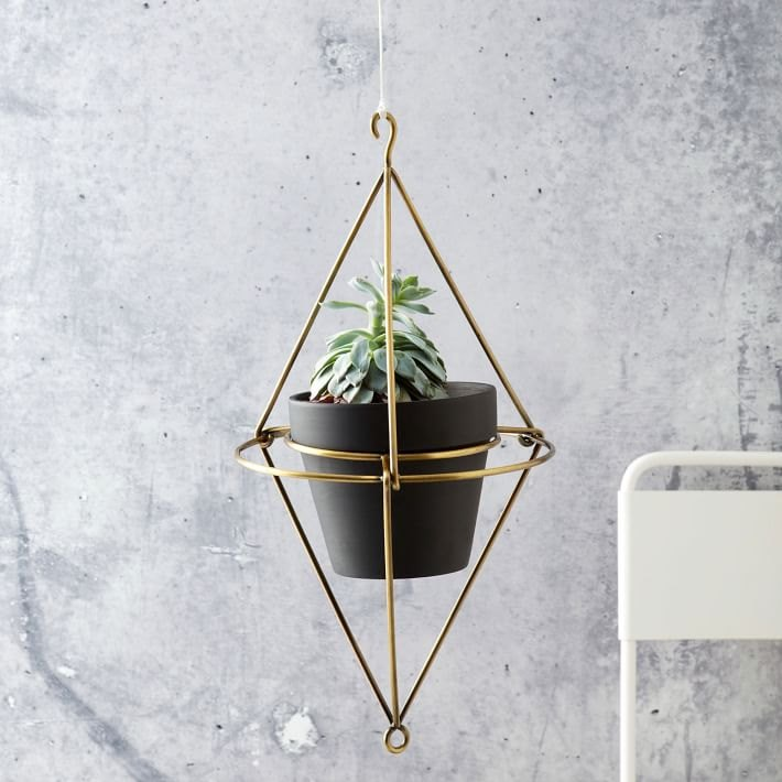 Brass hanging planter from West Elm