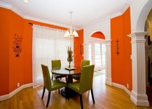 Bright and brilliant shade of orange for an effervescent dining room