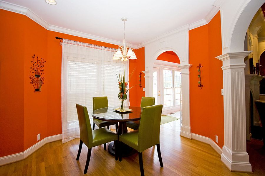 Bright and brilliant shade of orange for an effervescent dining room [From: Home Design Networking]