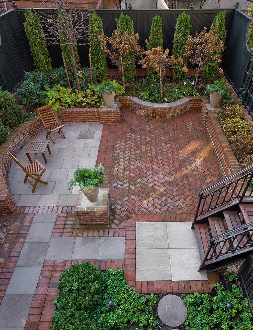 20 charming brick patio designs for Courtyard stone landscape