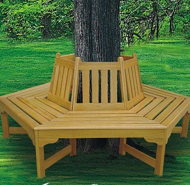 Brookstone hexagonal tree bench  Tree Bench Ideas for Added Outdoor Seating Brookstone hexagonal tree bench