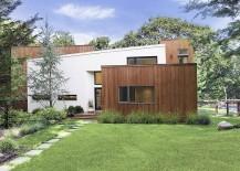 Cedar wood and white stucco home