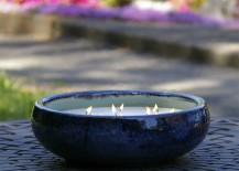 Ceramic Soy Candle in Blue Earthenware Pot