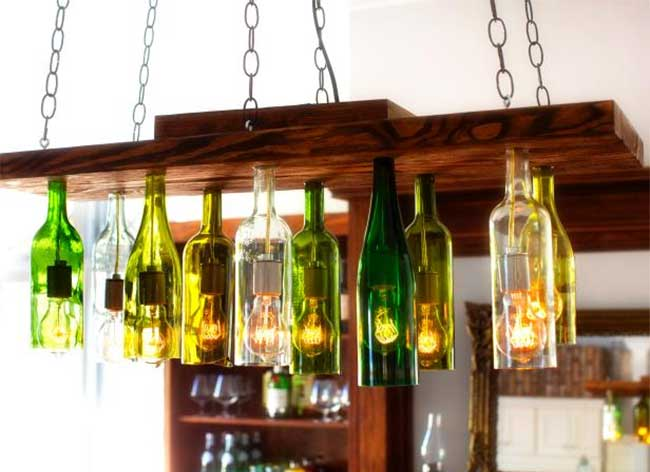 Chandelier Made of Wine Bottles