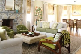 chic beach style living room with a tufted ottoman as coffee table design tara