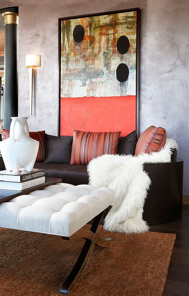 Chic living room with unique wall art [Design: CIH Design]