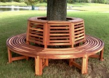 Circular redwood tree bench from Forever Redwood 217x155 Tree Bench Ideas for Added Outdoor Seating