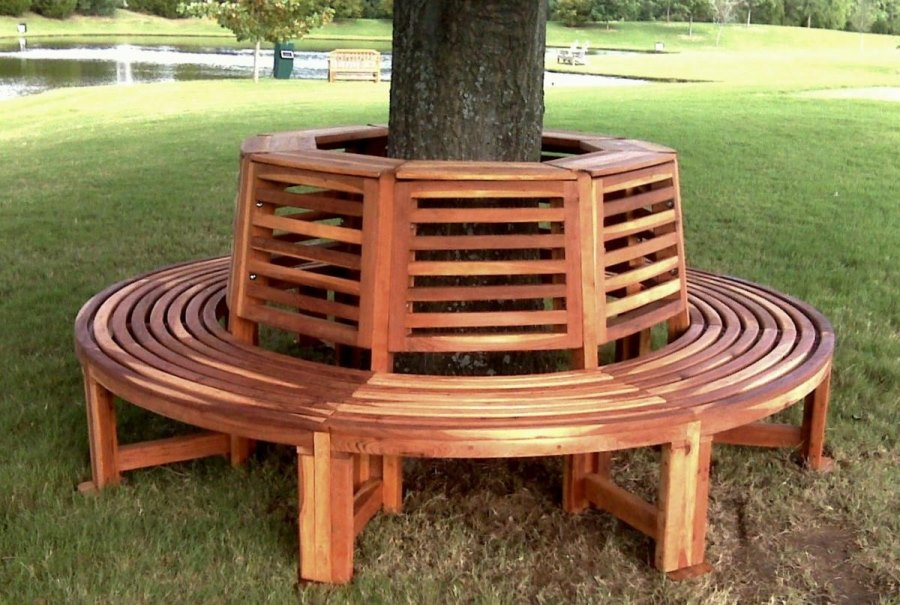Circular redwood tree bench from Forever Redwood