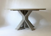 Circular trestle dining table from LM