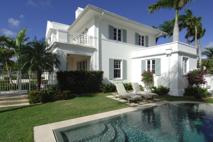 Classic stucco home with Caribbean style
