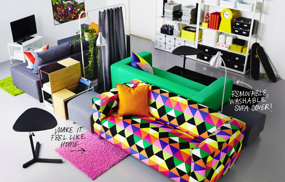 Colorful common room designed by IKEA