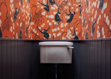 Colorful wallpaper in a bathroom with beadboad paneling