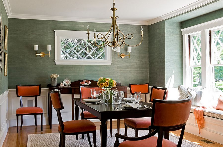 View in gallery Contemporary dining room in orange and green  Design   Lovejoy Designs. 25 Trendy Dining Rooms with Spunky Orange