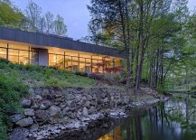 Contemporary glass house on the banks of Saugatuck River 217x155 Weston Residence: Lakeside Home Taps into Terraced Planes and Roof Gardens